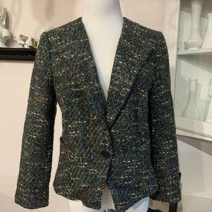 Ann Taylor Size 4 Tweed Teal Lined Blazer Jacket
